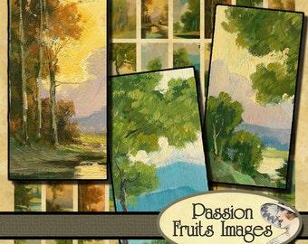 Italian Landscape Bamboo Tile Digital Collage Sheet