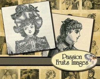 Steampunk Victorian Children Inchies- Digital Collage Sheet