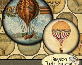 """Hot Air Balloon images Steampunk Digital Collage Sheet no.2- 2"""" Circles"""