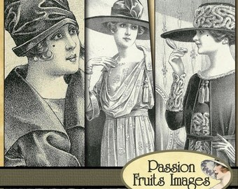 20's Ladies Digital Collage Sheet Microscope Slide Sized-- instant Download