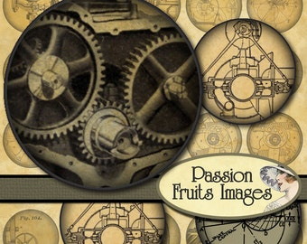 Steampunk Mechanical Drawings  Digital Collage Sheet- 1.25 inch rounds-- Instant Download