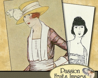 Bold 20's Ladies Aceo Card Digital Collage Sheet