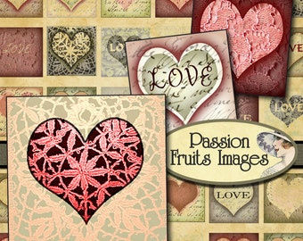 Love and Lace Inchies- Valentine's Digital Collage Sheet-- Instant Download