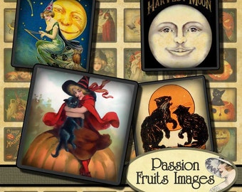 1inch  Vintage Halloween Images 1x1 Inchies Tiles Digital Collage Sheet-- Instant Download