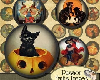 1.25 inch circles  Cute Vintage Halloween Digital Collage Sheet-- Instant Download