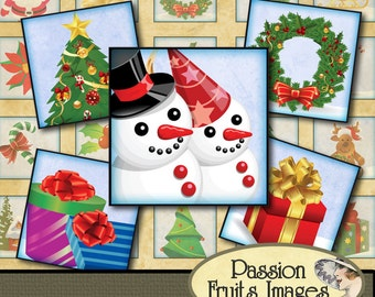 Cute Christmas Inchies 1 inch Tiles Digital Collage Sheet-- Instant Download