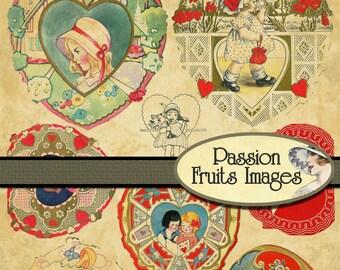 Vintage Valentine's Day Digital Collage Sheet 2--Instant Download