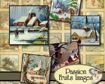 Winter Landscapes Scrabble Tile sampler Digital Collage Sheet-- Instant Download