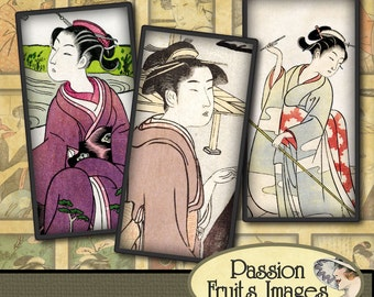 Antique Chinese Beauties Domino Tile Digital Collage Sheet