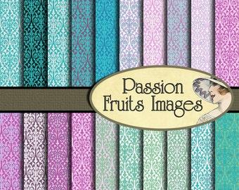 Bright Spring Pastel Damask Fabrics 20 Piece Digital Paper Pack-- Instant Download