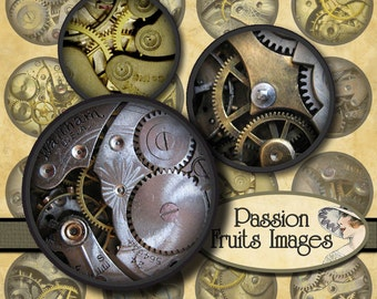 Clockwork Gears 1 inch round bottlecaps circles Steam Punk digital collage sheet-- Instant Download