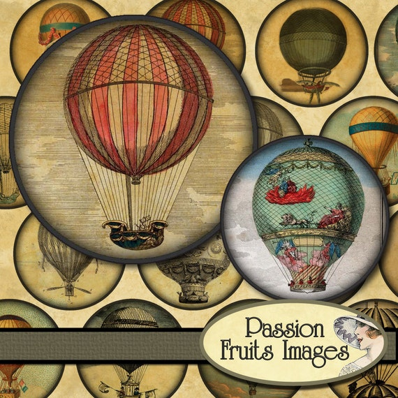 Hot Air Balloons 2  inch rounds Digital Collage Sheet no.1--Instant Download