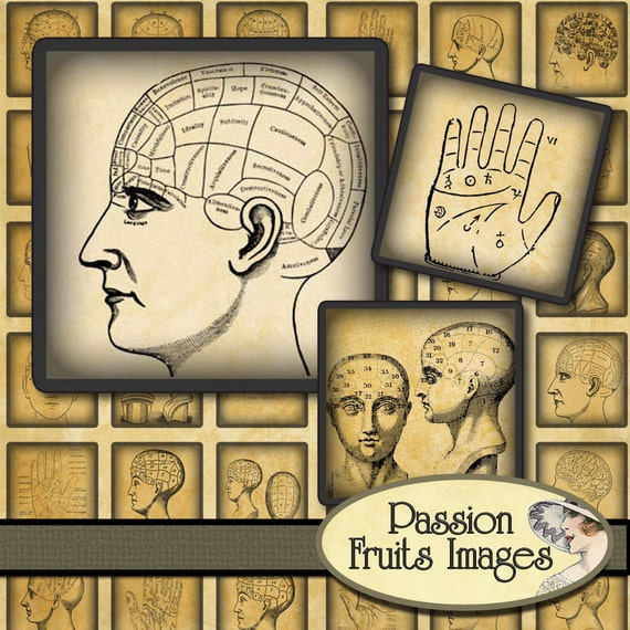 "Phrenology 1"" Squares Digital Collage Sheet--Instant Download"