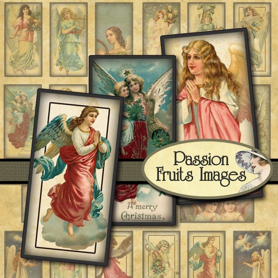 Victorian Christmas Angels Domino Tiles 1 x 2 inch Digital Collage Sheet-- Instant Download