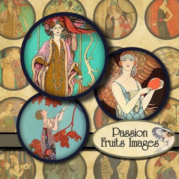George Barbier Art Deco Women's Fashion Illustrations 1.5 in Large Circles Digital Collage Sheet--Instant downlaod