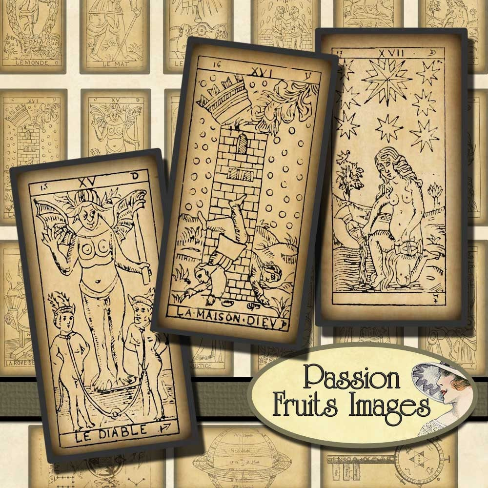 Antique Tarot Card 1x2 Domino Tile Digital Collage Sheet