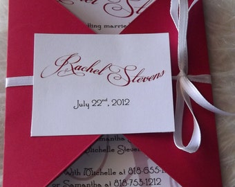 Bridal Shower Invitation: Red Shower invitations with Matching Envelope