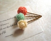 Rapunzel Hair Jewelry Resin Floral Bobby Pins in Strawberry Pink, Mint Green and French Vanilla