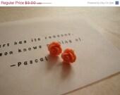 40% OFF Earrings - Plastic Rose Studs in Salmon - Buy 3 Get 1 Free