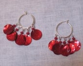 Silver hoop earrings with red beads and red shells