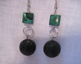 Black lava with green malachite earrings