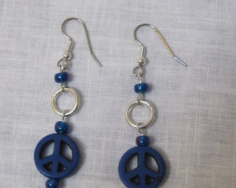 handmade blue peace sign and blue bead earrings