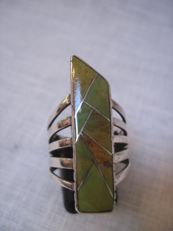 1960's vintage green turquoise inlay ring