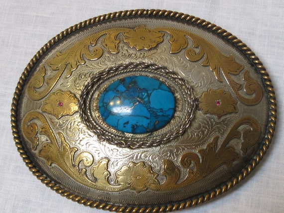 vintage turquoise and rubies belt buckle