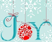 Christmas Joy Art Print, Digital Illustration. Blue and Red Snowflakes, Ornaments. Holiday