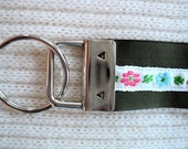 Key Chain / Key Fob Wristlet - Floral on Olive Green