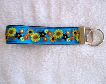 Key Chain / Key Fob Wristlet - Yellow, Tan and Black Floral on Black