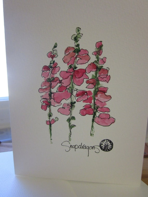 SNAPDRAGONS Watercolor Card