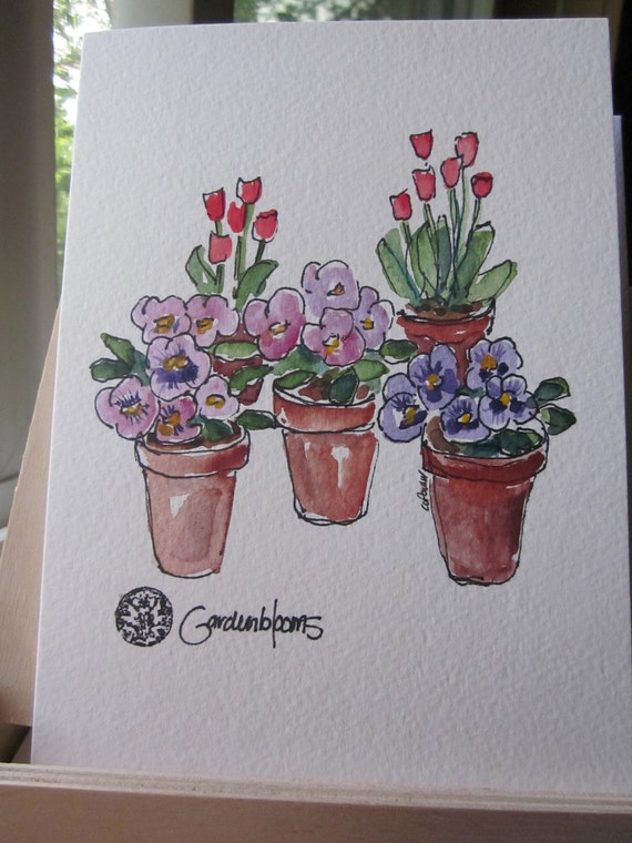 Potted Blooms Watercolor Card- Hand painted Card