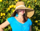 Wide Brim Hat  Camel with Cotton Lace Trim Hat by Freckles California