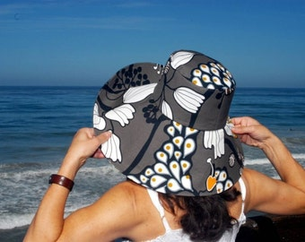 Grey Printed Sun Hat Custom By the Sea Sun Hat Wide Brim Sun Hat Beach Sun Hat Summer Hat by Freckles California