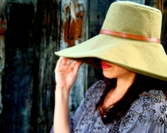 Winter Hat Women Olive Sun Hat with Leather-Like Band Military Fashion Wide Brim Sun Hat by Freckles California