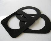 Vintage Mod Black Geometric Flat Bangles