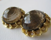 Vintage Large Smokey Quartz Color Faceted Plastic Stone Clip Earrings