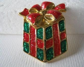 Vintage AAI Christmas Wrapped Gift Brooch