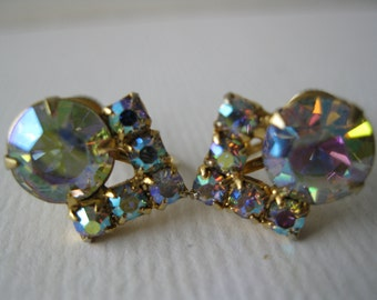 Vintage Hollywood Glamour Aurora Borealis Screw Back Earrings