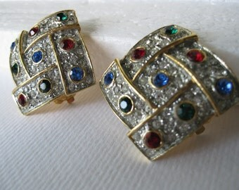 Reduced Vintage Hollywood Glamour  Sparkling Rhinestones Square Clip Earrings