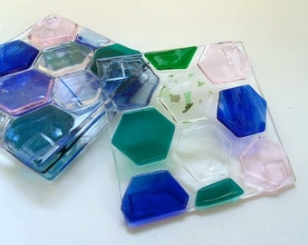 Colorful Fused Glass Beehive Coaster: Hexagons