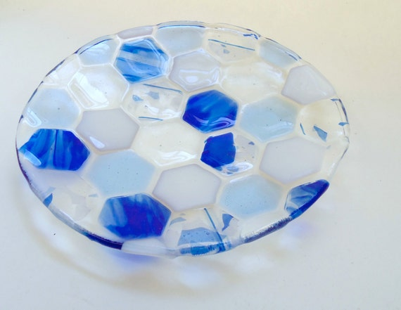 Blue, Round, Fused Glass Beehive Plate: Hexagons
