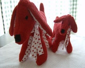 Handmade Mommy and Baby Red Dogs, Plush Stuffed Animals