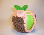 Handmade Crocheted Apple Cozy - Crochet Apple Cozy in Cafe Color with Light Coral Trim