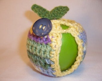 Handmade Crocheted Apple Cozy - Crochet Apple Cozy in Watercolor with Cornmeal  Trim