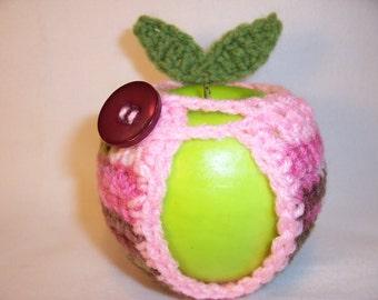 Handmade Crocheted Apple Cozy - Crochet Apple Cozy in Pink Camo  with Petal Pink Trim