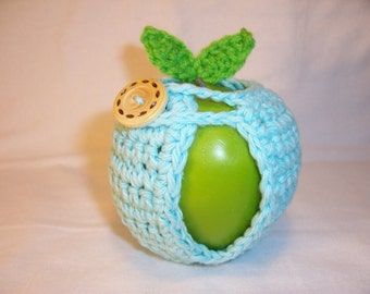 Handmade Crocheted Apple Cozy  - Crochet Apple Cozy in Aqua Color with Green Leaves