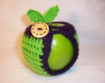Handmade Crocheted Apple Cozy - Crochet Apple cozy in Spring Green Color with Purple Trim