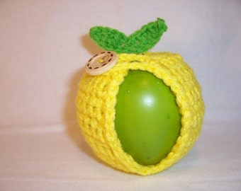 Handmade Crocheted Apple Cozy - Crochet Apple Cozy  In Bright Lemon Yellow